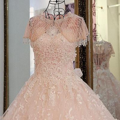 Lace Appliques Floor Length Pink Quinceanera Dresses_2