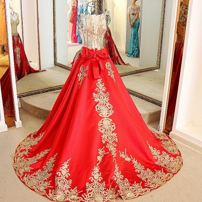 Golden Appliques Red A-line Brush Train Quinceanera Dresses_2