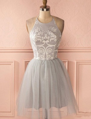 Glamorous Halter Tulle Quinceanera Appliques Backless Dama Dress_1