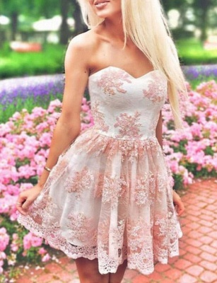 Modern Appliques Quinceanera Lace Romantic Sweetheart Mini Dama Dress_1