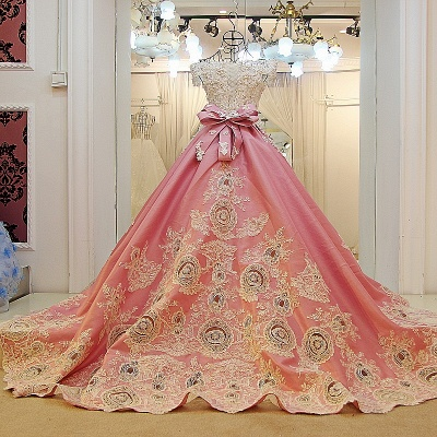Pink Ball-gown Pearl Beading Appliques Court Train Quinceanera Dresses_3