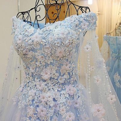 Apliques florales Vestidos de quincea_era | con cuello en v de Watteau A-linea_4