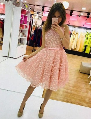 Lindo A-Linea vestido de regreso a casa | con apliques joya sin mangas mini_1