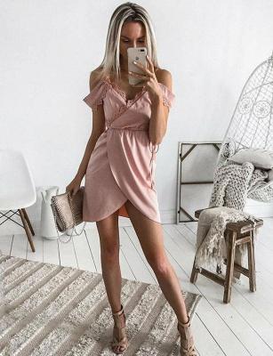 Encantador cortos vestido de regreso a casa | con una línea de encaje correas espaguetisy cintas_1