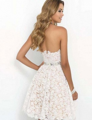 Cheap Romantic Sweetheart Quinceanera Lace Flower Short Sweet 16 Dama Dress_3