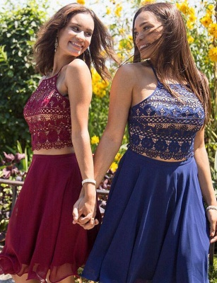 Two Piece Spaghetti Straps Quinceanera Lace Lace-up Short Sweet 16 Dama Dress_3