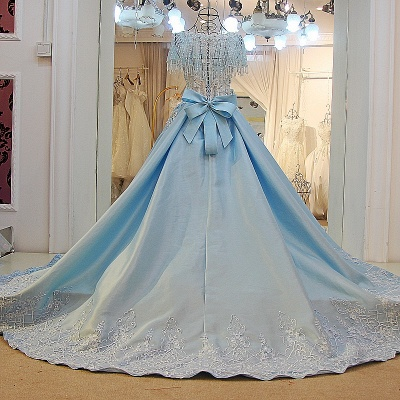 Crystal Beading Short Sleeves Appliqued Court Train Quinceanera Dresses_3