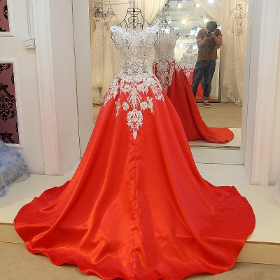 Luxurious Beading Golden Appliques Sleeveless Red Quinceanera Dresses_2