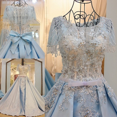 Crystal Beading Short Sleeves Appliqued Court Train Quinceanera Dresses_1