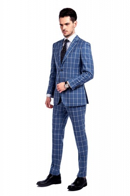 Blue Windowpane Single Breasted Slim Fit Classic Suit | Peaked Lapel Made to Measure Tuxedos for my Quince_2
