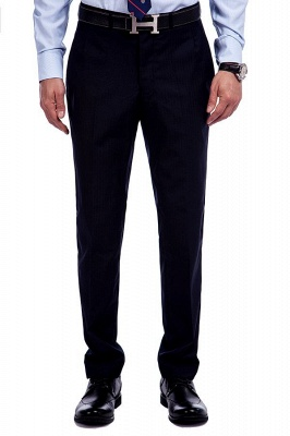 Fashion Navy Blue Herringbone Custom Made Business Chambelanes Tuxedos | Single Breasted 3 Pocket Tailored Suit For Men_8