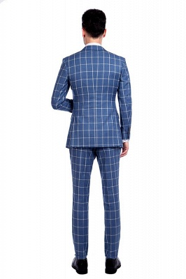 Blue Windowpane Single Breasted Slim Fit Classic Suit | Peaked Lapel Made to Measure Tuxedos for my Quince_3