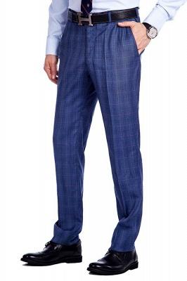 Nueva llegada Premium Blue Checks traje de lana para hombre | Moderno Vent Personalizado traje de boda de un solo pecho_8