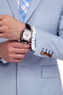 la solapa enarbolada por encargo Traje a medida azul claro | Tres bolsillos trajes de novio de boda de pecho único_6