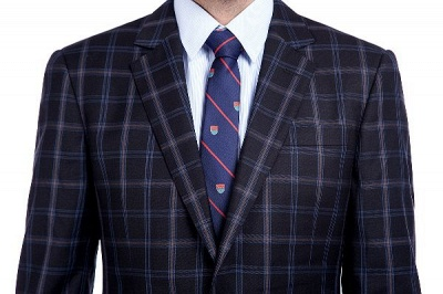 Wool Single Breasted Dark Grey Blue Plaid Chambelanes Tuxedos | Latest Design Notched Lapel Two Button Chambelanes Tuxedos_4