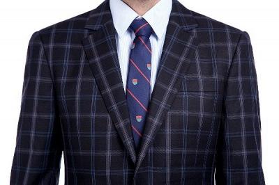 Traje de hombre de lana escocesa azul marino de un solo pecho gris oscuro | Traje de boda de dos botones con dise_o de solapa con muesca_4