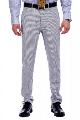 Popular Grey Stripes Breathable Causal Suit for Men | Peak Lapel Customize Single Breasted Chambelanes Tuxedos_7