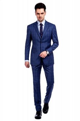 Nueva llegada Premium Blue Checks traje de lana para hombre | Moderno Vent Personalizado traje de boda de un solo pecho_1