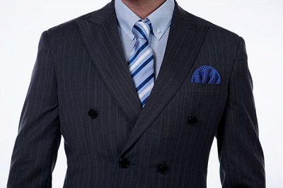 Double Breasted Stripe Tailoring Suit | Fashion Peak Lapel 3 Pockets Chambelanes Tuxedos For Men_4