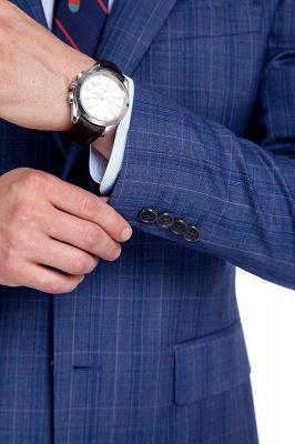 Nueva llegada Premium Blue Checks traje de lana para hombre | Moderno Vent Personalizado traje de boda de un solo pecho_6