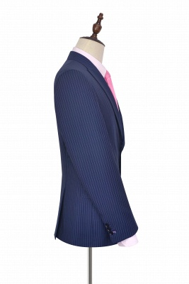 Hign Quality Blue Vertical Stripes Peak lapel Wool Tailored Suit | High-end 3 Pocket Slim Fit Best Grooms Chambelanes Tuxedos_4