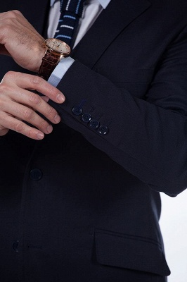 Dark Navy Peak Lapel Single Breasted Chambelanes Tuxedos | Premium Wool Three-Pieces Back Vent Customize suits_8