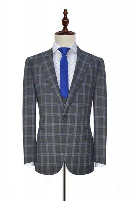 Nueva llegada Traje de tres piezas de solapa gris oscuro | gran enrejado pico para formal de 3 bolsillos traje de boda de un solo pecho para los hombres_2