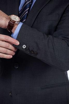 Gris oscuro 2 bolsillos trajes a medida delgados Traje casual de solapa | con muescas Personalizar esmoquin de boda_6