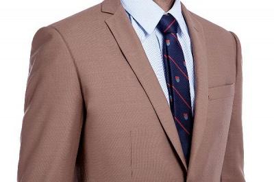 Traje de negocios a medida con solapa de pecho cruzado marrón claro | Traje de hombre de moda 2019 de alta calidad con 3 bolsillos_5