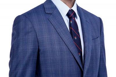 Nueva llegada Premium Blue Checks traje de lana para hombre | Moderno Vent Personalizado traje de boda de un solo pecho_5