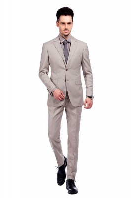 Light Khaki Single Breasted Two Button Custom Suit | High Quality Peaked Lapel Hand Made Wool Suit for Men_1