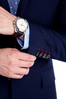 Traje de bolsillo azul marino con muesca con solapa 3 para hombres | El nuevo traje de padrino de boda para mujer_7