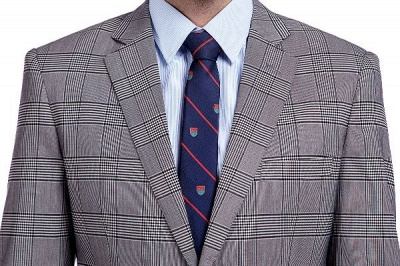 Modern Gris Checks Two Button Custom Formal Wedding Men Trajes | Solo pecho pico solapa negocio novio boda_4