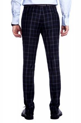 Traje de hombre de lana escocesa azul marino de un solo pecho gris oscuro | Traje de boda de dos botones con dise_o de solapa con muesca_9