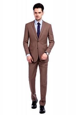 Traje de negocios a medida con solapa de pecho cruzado marrón claro | Traje de hombre de moda 2019 de alta calidad con 3 bolsillos_1