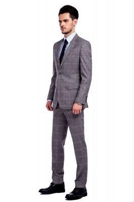 Modern Gris Checks Two Button Custom Formal Wedding Men Trajes | Solo pecho pico solapa negocio novio boda_2