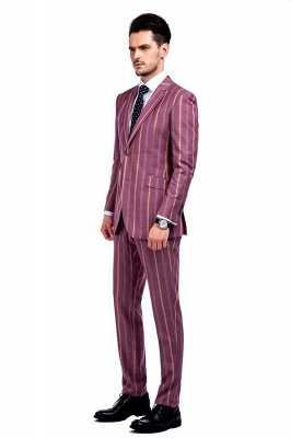Dark Pink Checks Single Breasted Peaked Lapel Tuxedos | New Suit Formal Suit for Handsome Men_2
