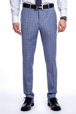 Wool Blue Checked Single Breasted Tailored Suit For Men | Stylish Design Notched Lapel Slim Fit Chambelanes Tuxedos_7