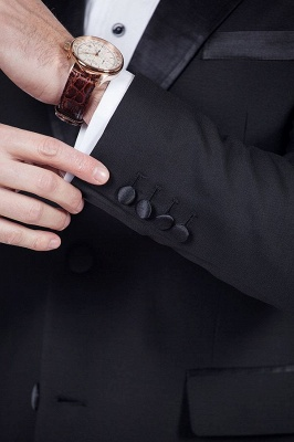 Popular Solid Black Stain Designs Fit Suit | Three Pockets Peaked Lapel Quinceanera Tuxedos_7