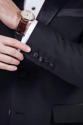 Sólidas populares trajes de novio de boda | Tres bolsillos de solapa pico manchas negras_7
