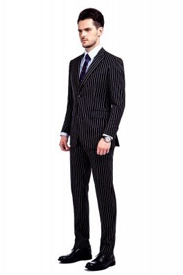 Tailor Hand Made White Stripes Business Suit for Men | Latest Design Peak Lapel Single Breasted Slim Fit Suit_2