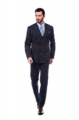 Double Breasted Stripe Tailoring Suit | Fashion Peak Lapel 3 Pockets Chambelanes Tuxedos For Men_2