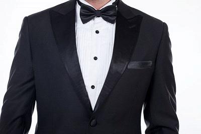 Sólidas populares trajes de novio de boda | Tres bolsillos de solapa pico manchas negras_5