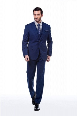 Royal Blue Peaked Lapel Chambelanes Tuxedos (Jacket Tie Vest Pants) Tuxedos | Customize Three Pocket Single Breasted Chambelanes_4