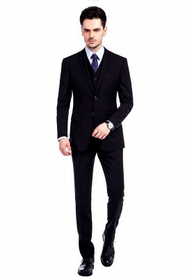 Black Single Breasted 3 Piece Business Suit for Men | High-end Peak Lapel Customized Tuxedos for my Quince_1