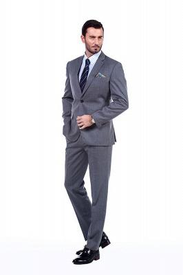Nuevo dise_o de dos botones de un solo pecho traje personalizado | Alta calidad 2 piezas gris pico solapa novio_1