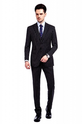 Tailor Hand Made White Stripes Business Suit for Men | Latest Design Peak Lapel Single Breasted Slim Fit Suit_1