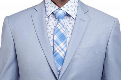 la solapa enarbolada por encargo Traje a medida azul claro | Tres bolsillos trajes de novio de boda de pecho único_4