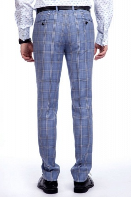 Wool Blue Checked Single Breasted Tailored Suit For Men | Stylish Design Notched Lapel Slim Fit Chambelanes Tuxedos_9
