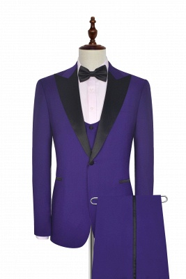 Fashion Purple Single Breasted Custom Made Chambelanes Tuxedos | Peak lapel 2 Pocket Tailored Quinceanera Tuxedos for Chambelanes  3 Pieces Set